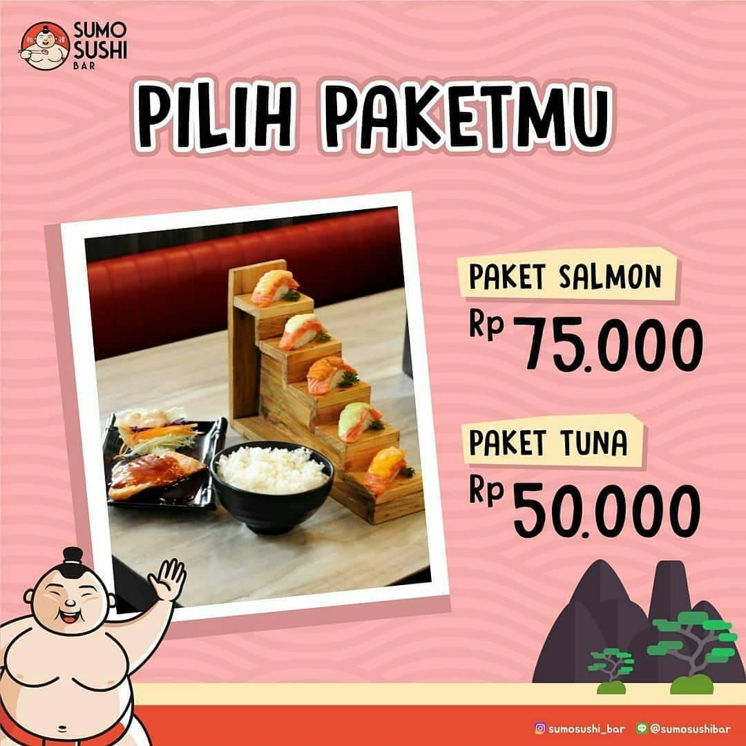 Sumo Sushi Bar Promo Spesial mulai dari Rp. 50.000 untuk Paket Salmon atau Tuna