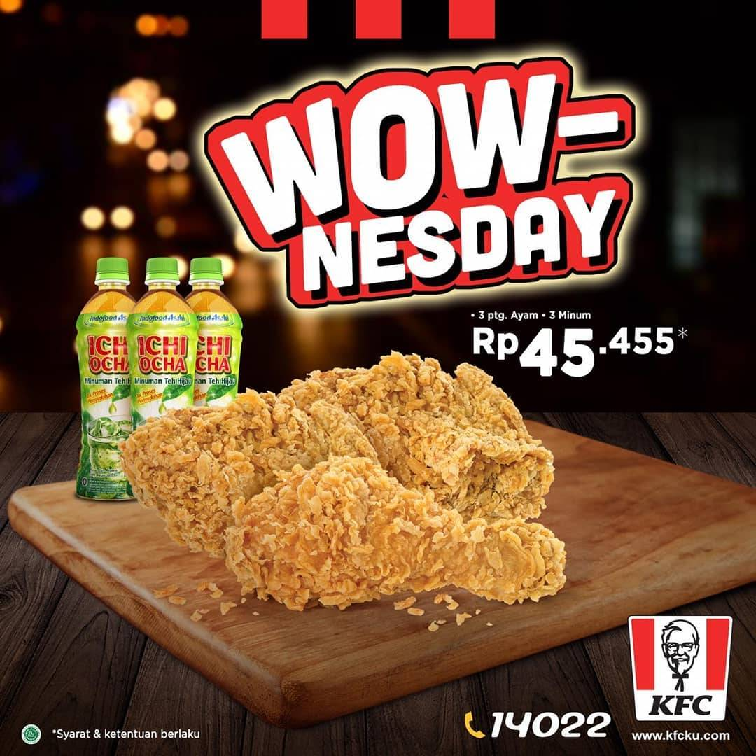 Diskon KFC Promo Paket Wownesday! 3 ayam (O.R. / HCC) dan 3 Ichi Ocha cuma Rp 45.455*