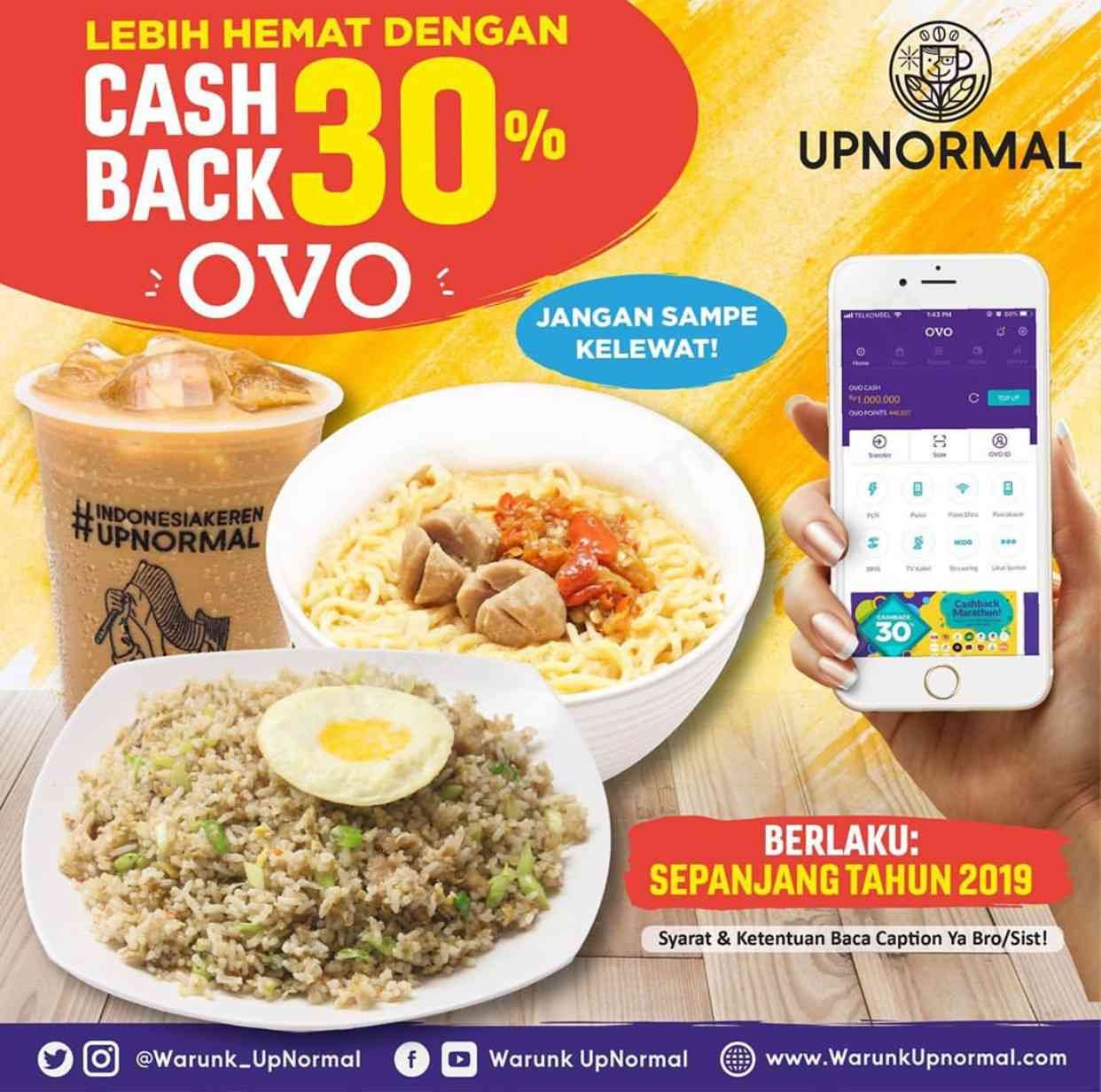 Diskon Warunk Upnormal Cashback 30% dengan OVO