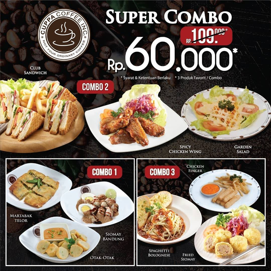 Diskon CUPPA COFFEE Super Combo – Paket 3 Menu Favorit hanya Rp. 60.000 saja