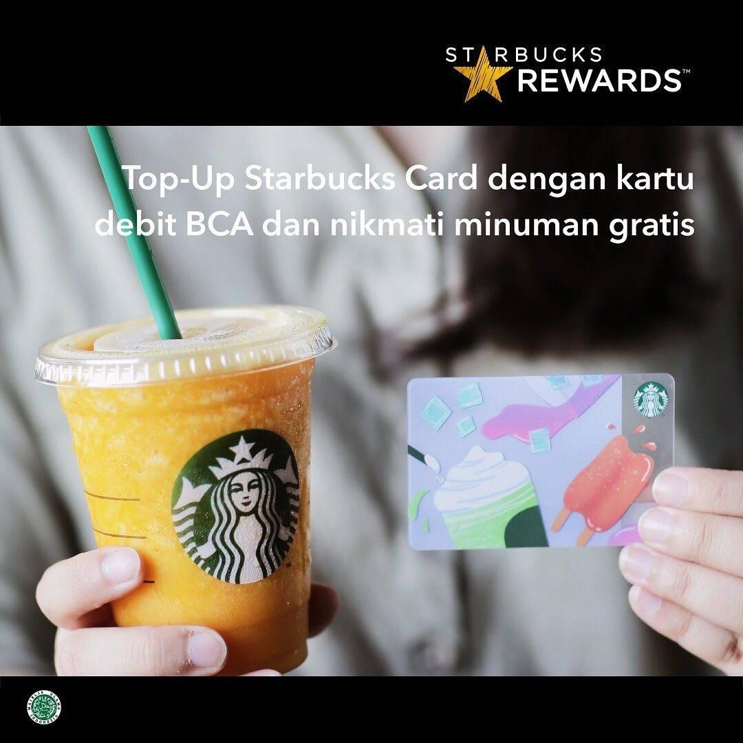Starbucks GRATIS Minuman dengan Aktivasi atau Top Up Starbucks  Rp 200.000 dengan Debit BCA