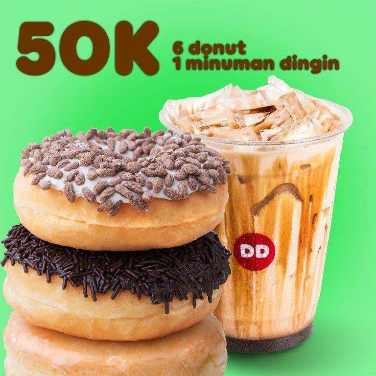 Diskon Dunkin Donunts Promo Paket 6 Donut dan 1 Minuman Rp. 50.000 dengan Kupon LINE