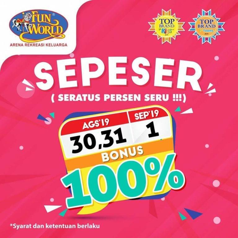 Fun World Promo SEPESER Dapatkan Bonus Saldo hingga 100%