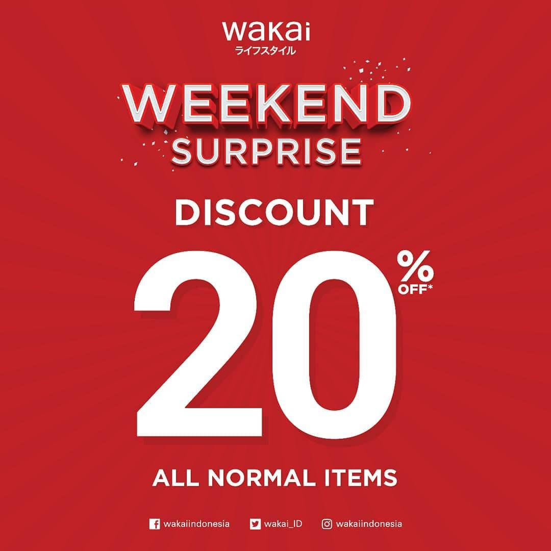 Diskon Wakai Weekend Surprise Promo Discount 20% off