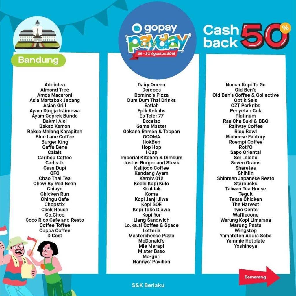 Promo diskon GO-PAY PAYDAY Promo, Bayar Pakai Go-Pay* Dapat CASHBACK hingga 50%