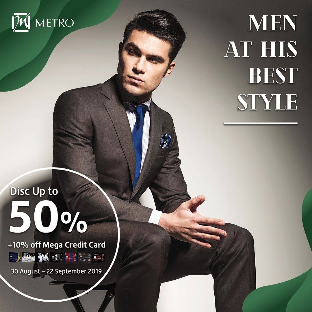 METRO Department Store Promo Men At His Best Style, Discount up to 50% off + 10% off dengan KARTU KR