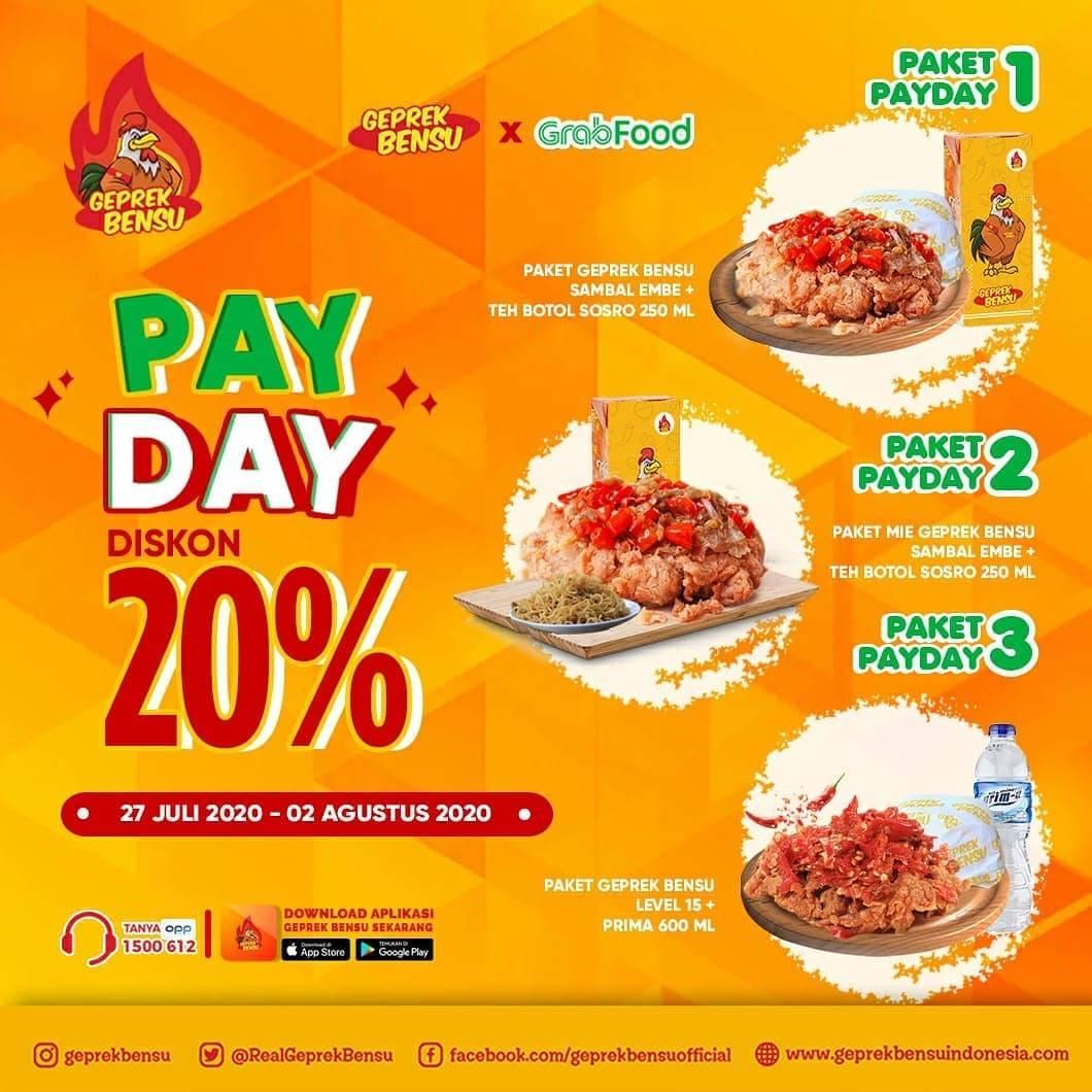 Diskon Promo Geprek Bensu Diskon 20% Untuk Pemesanan Melalui Grabfood