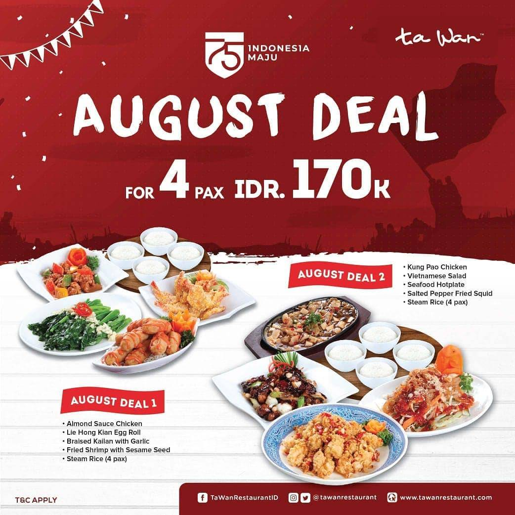 Diskon Promo Ta Wan Restaurant August Deal For 4 Pax Only IDR. 170.000