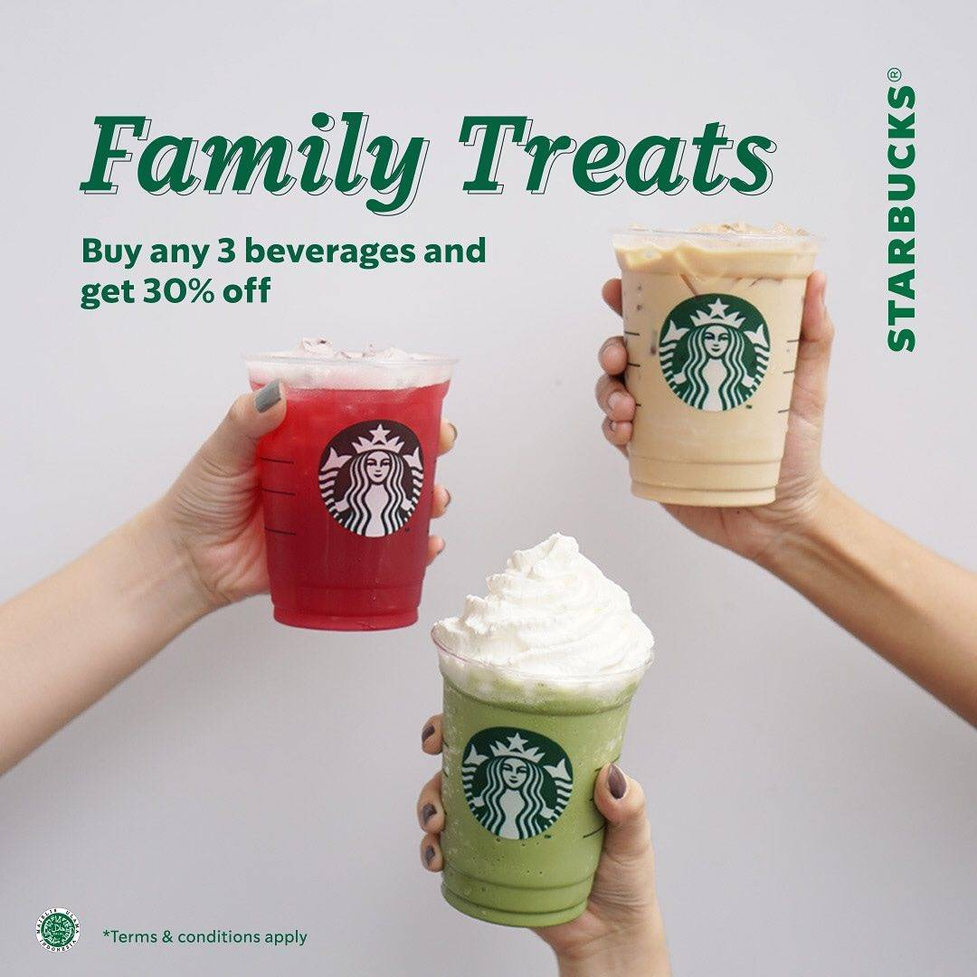 Diskon Starbucks Promo Family Treats  potongan 30%