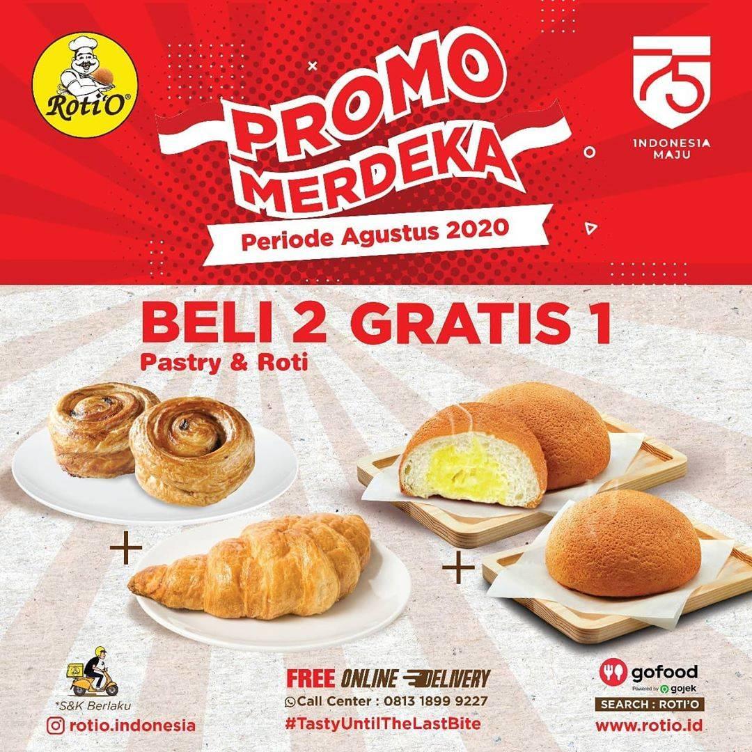 Diskon Roti'O Promo Merdeka Agustus - Beli 2 Gratis 1 serta DISKON 50% untuk minuman