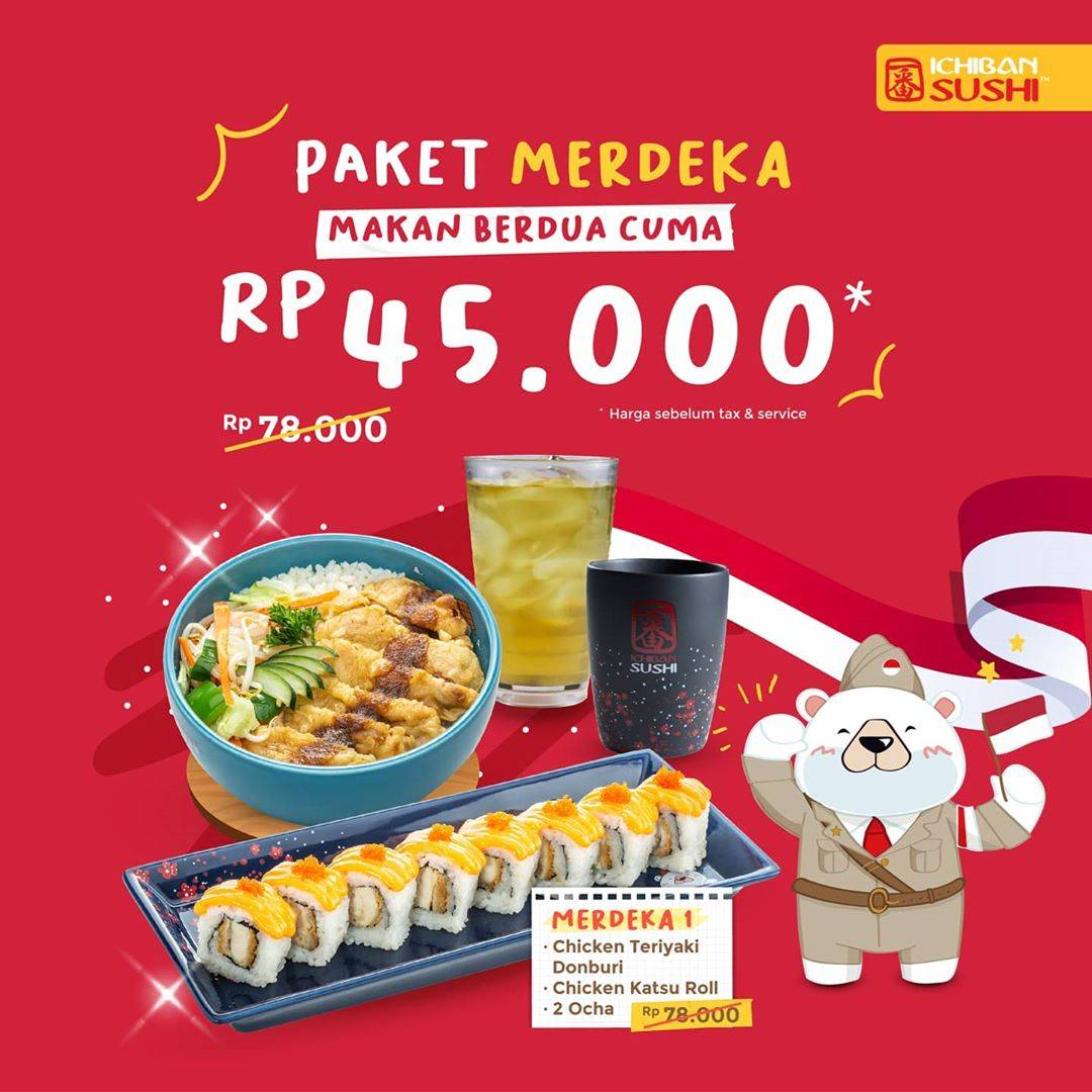 Diskon Ichiban Sushi Promo Merdeka - Makan Berdua Cuma Rp. 45.000