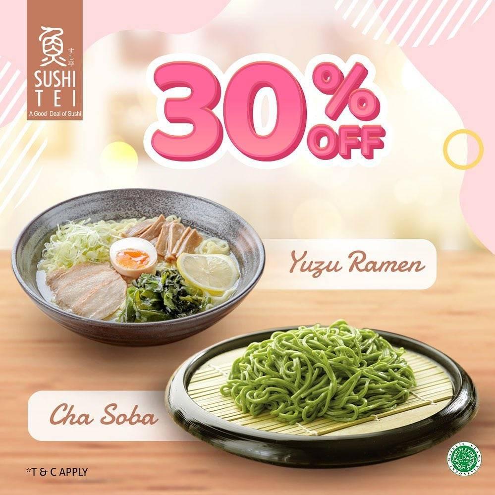 Diskon Sushi Tei Promo 30% Off Yuzu Ramen & Cha Soba