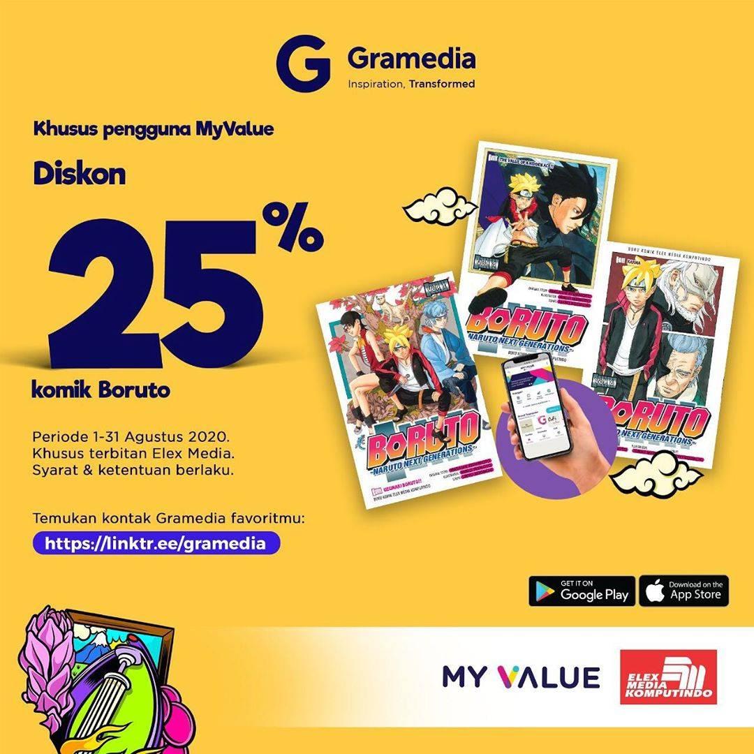 Diskon Gramedia Promo Diskon 25% Komik Boruto Khusus Pengguna My Value