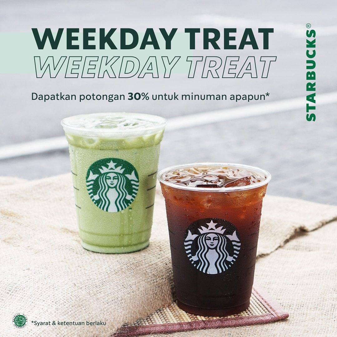 Diskon Promo Starbucks Weekday Treat Discount 30% Off For Any Beverages