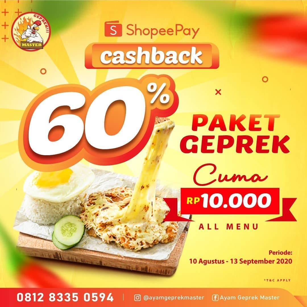Diskon Promo Ayam Geprek Master Cashback 60% Untuk Transaksi Menggunakan ShopeePay