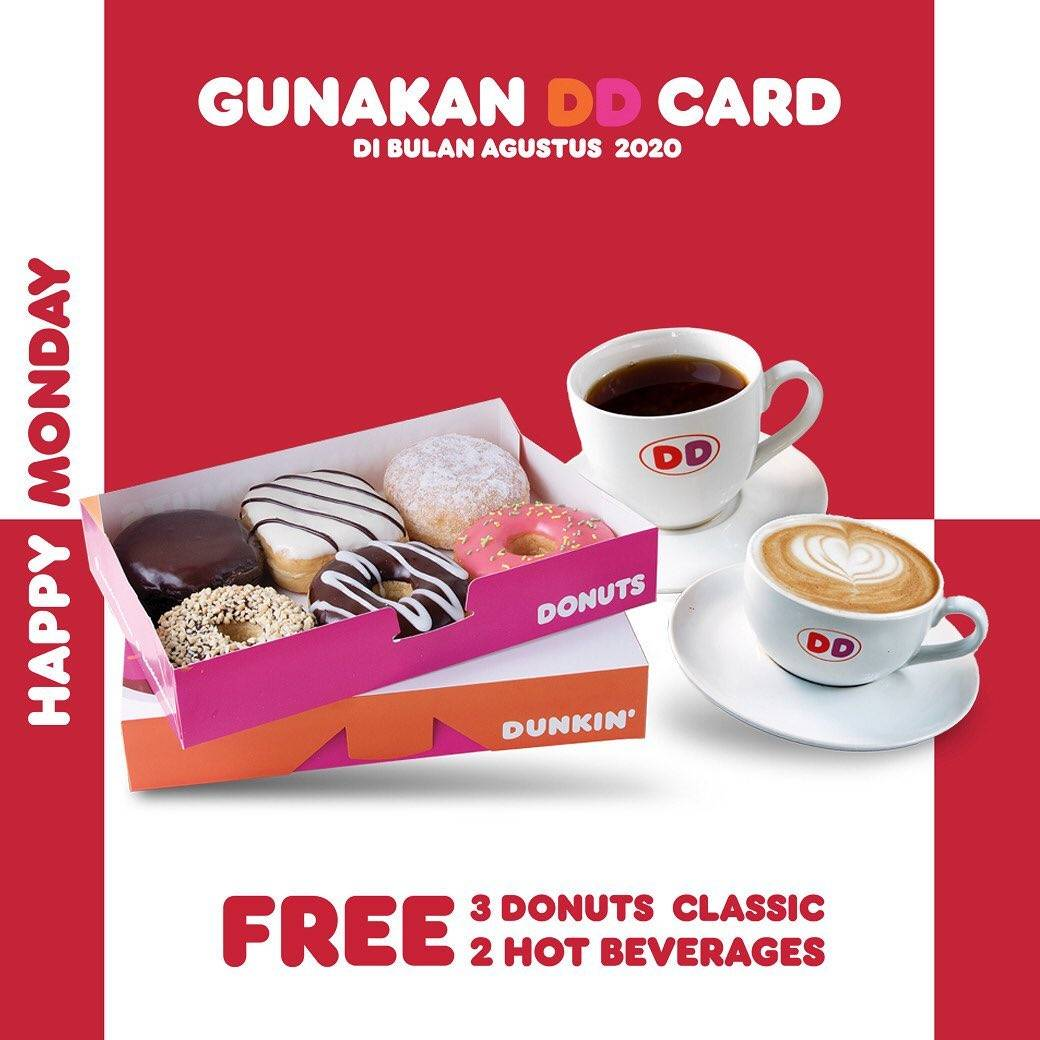 Diskon Promo Dunkin Donuts Free 3 Donuts Classic + 2 Hot Beverages For Payments With DD Card