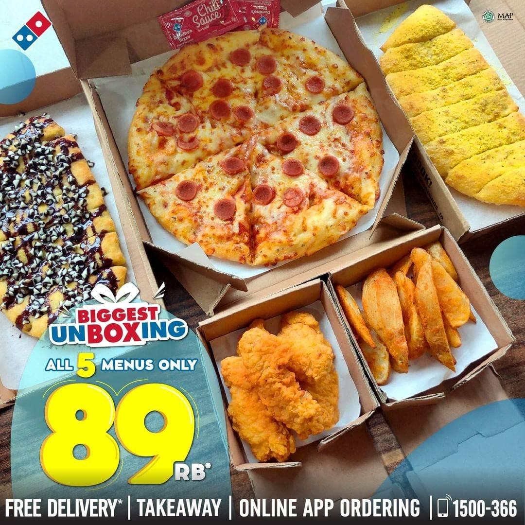 Diskon Promo Domino's Pizza Biggest Unboxing Harga Spesial 5 Menu Cuma Rp. 89.000