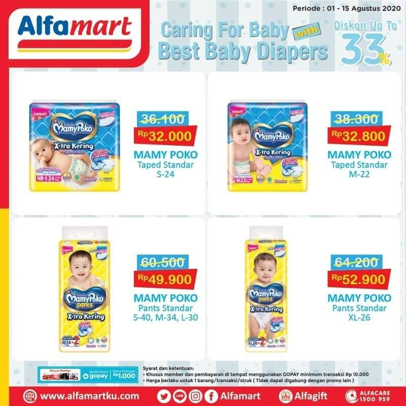 Diskon Katalog Promo Alfamart Popok Bayi diskon 33% Periode 1 - 15 Agustus 2020