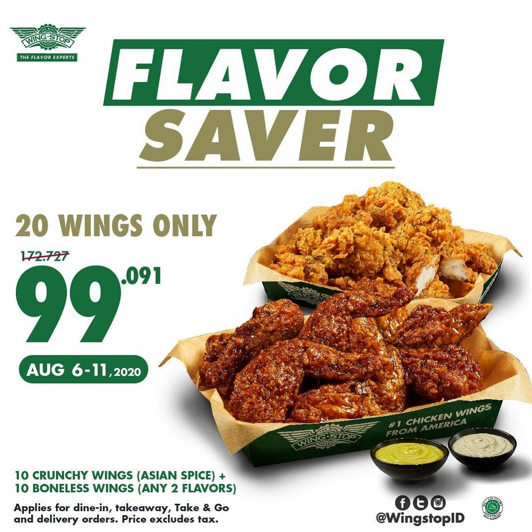 Diskon Promo Wingstop Flavor Saver 20 Wings Only IDR. 99.091