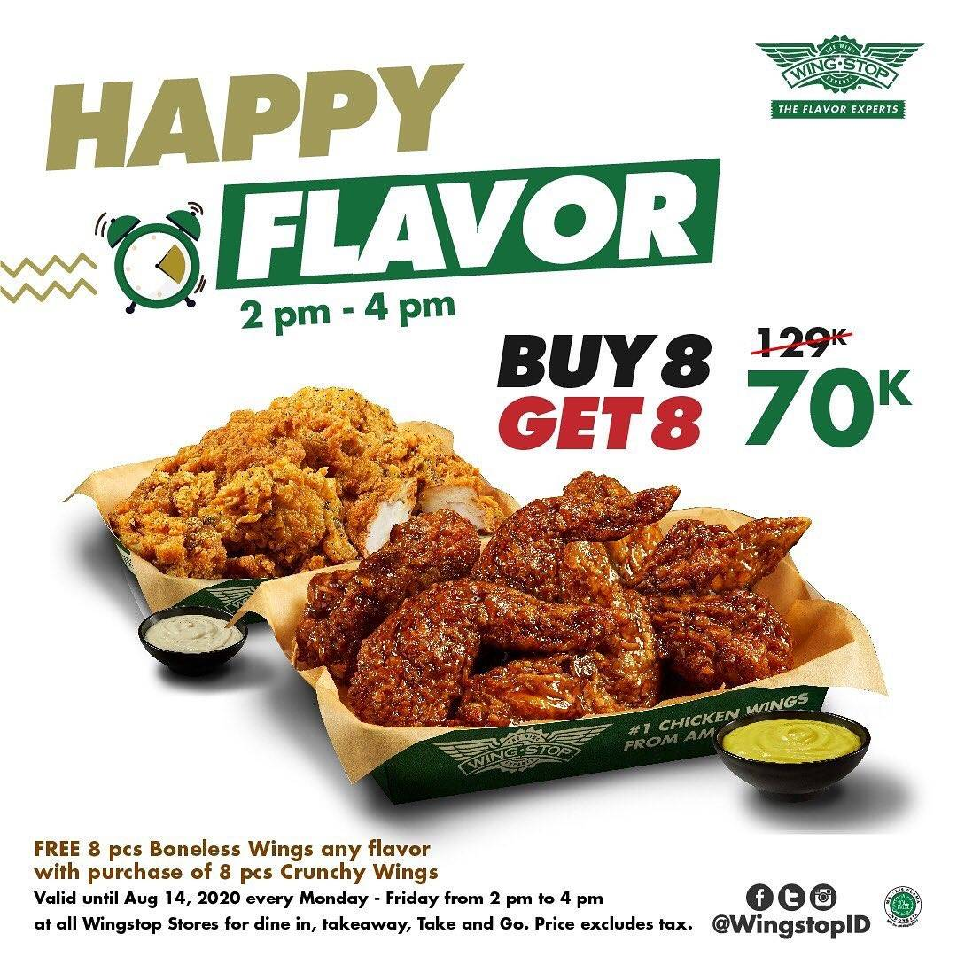 Diskon Promo Wingstop Happy Flavor - Buy 8 Get 8 Free