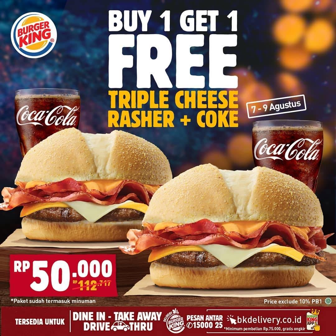 Diskon Promo Burger King Buy 1 Get 1 Free Triple Cheese Rasher + Coke