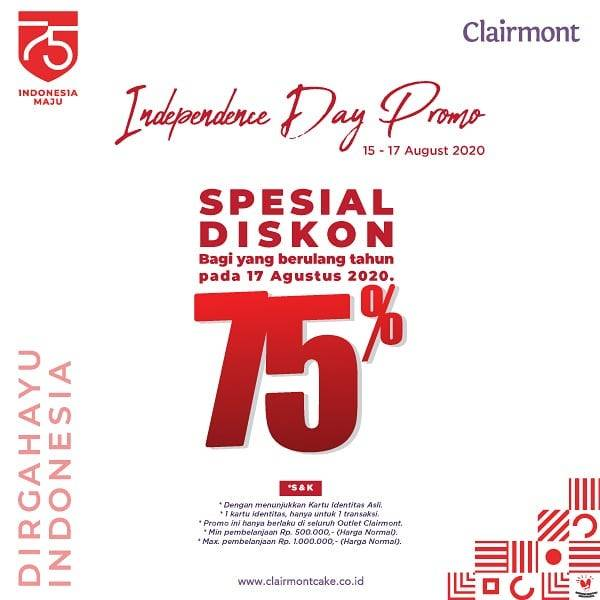 Diskon Promo Clairmont Independence Day Discount Up To 75% Off