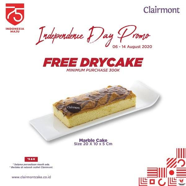 Diskon Promo Clairmont Independence Day Free Dry Cake