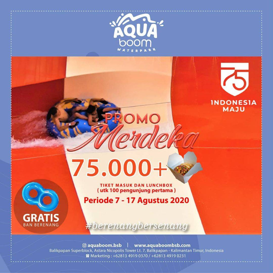 Diskon Aquaboom Waterpark Promo Merdeka - Tiket Masuk + Lunch Box Rp 75.000