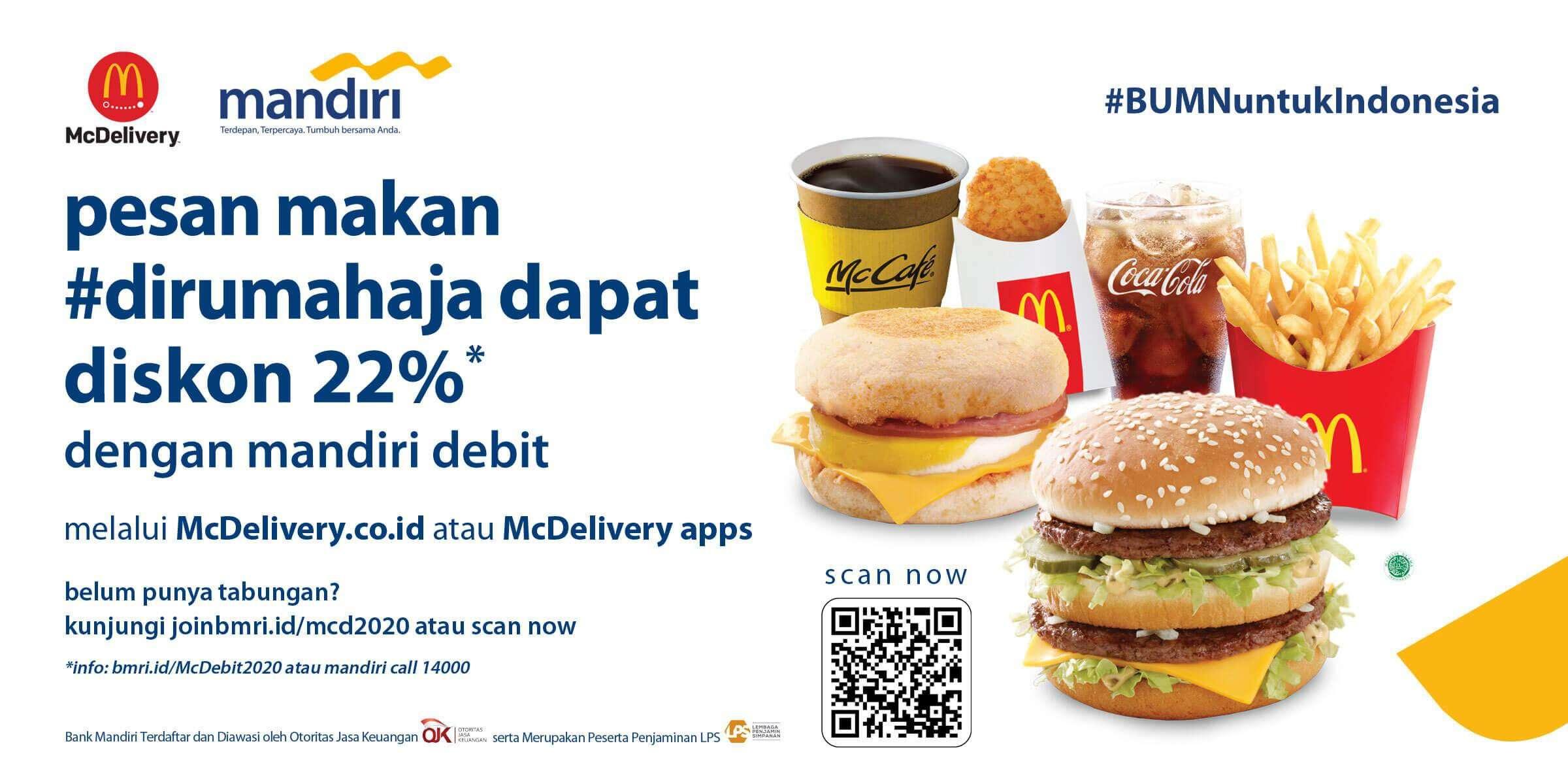 Diskon McDonalds Promo Debit Visa Bank Mandiri Diskon 22%