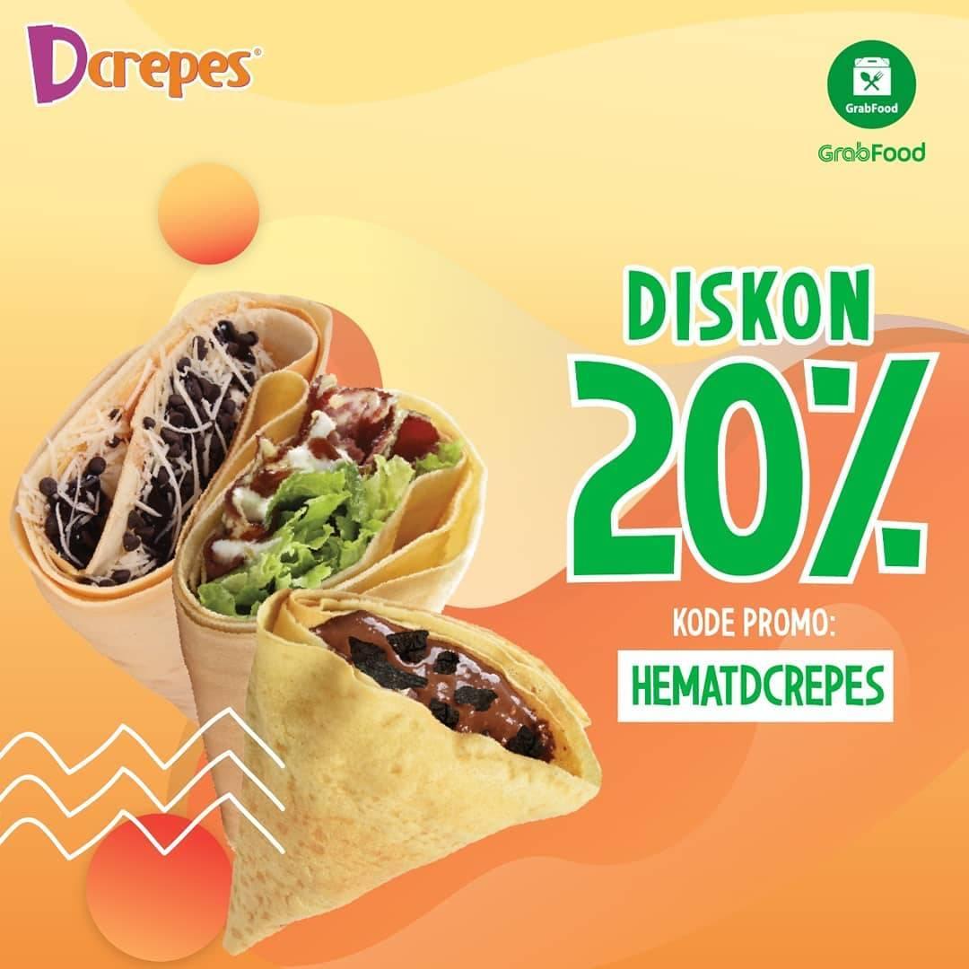 Diskon Promo DCrepes Diskon 20% Untuk Pemesanan Menu Melalui GrabFood