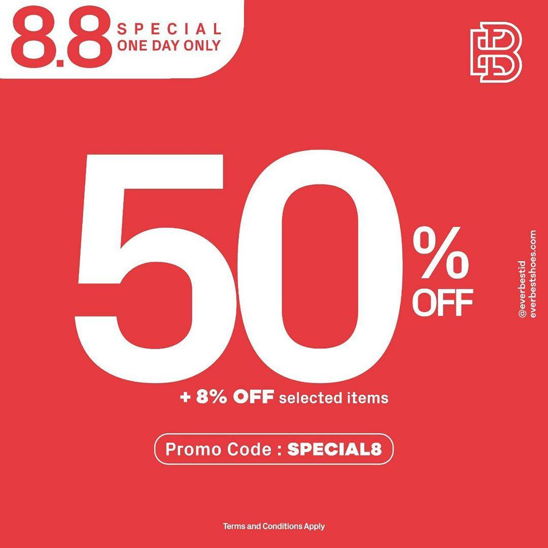 Diskon Promo Everbest Special 8.8 Get Discount 50% Off + Extra 8% Off For Online Shopping