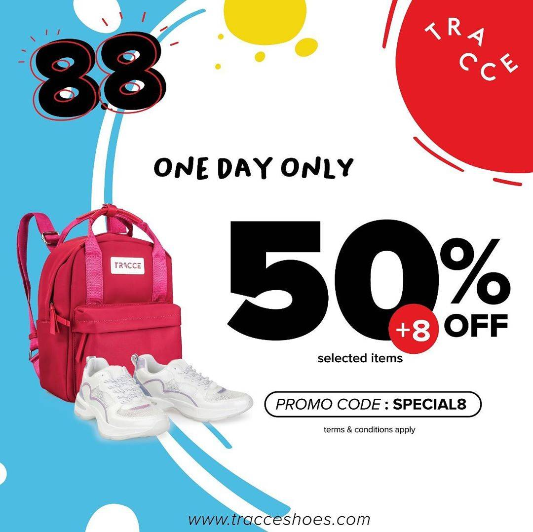 Diskon Promo Tracce Special 8.8 Get Discount 50% Off + Extra 8% Off For Online Shopping