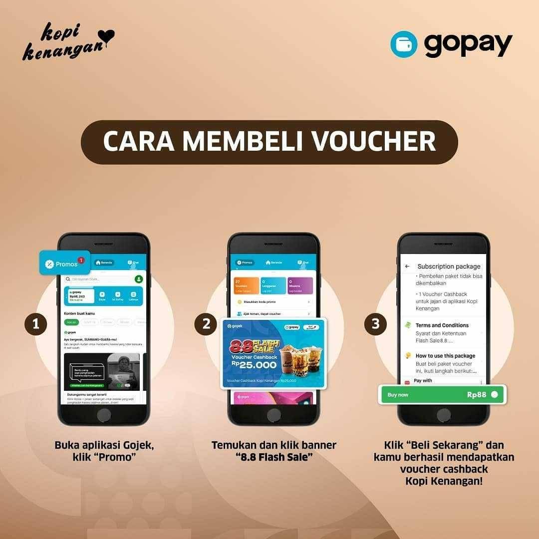 Promo diskon Promo Kopi Kenangan Voucher Cashback Rp. 25.000 Gopay Hanya Rp.88