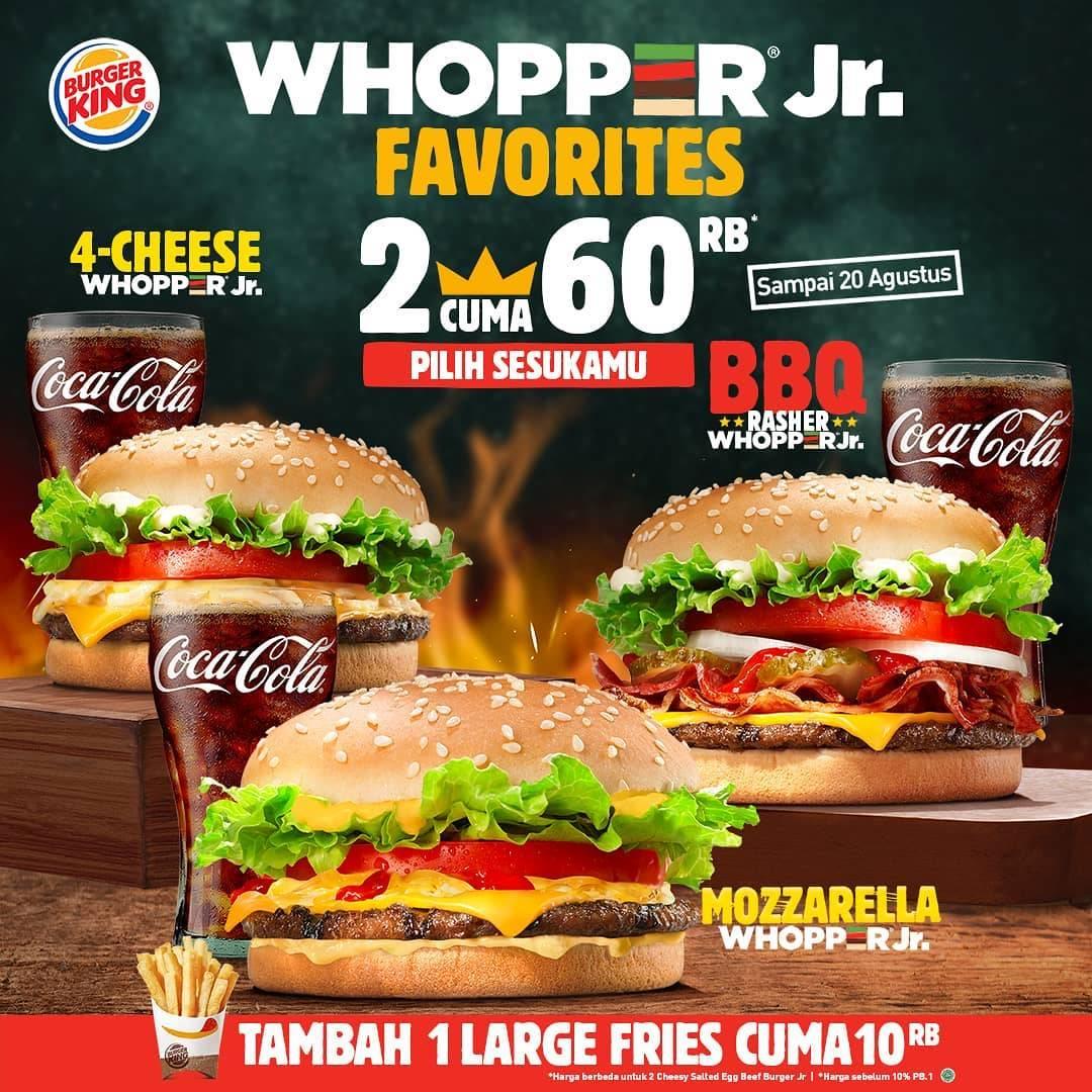 Diskon Promo Burger King Beli 2 Whopper Jr Favorites Cuma Rp. 60.000