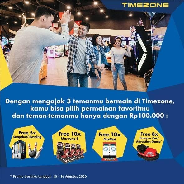 Diskon Promo Timezone Harga Spesial Main Game Favorit Bareng 3 Teman Hanya Rp. 100.000