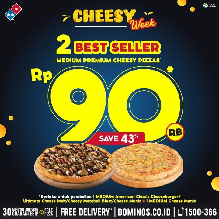 Diskon Promo Domino's Pizza 2 Best Seller Pizza Hanya Rp. 90.000