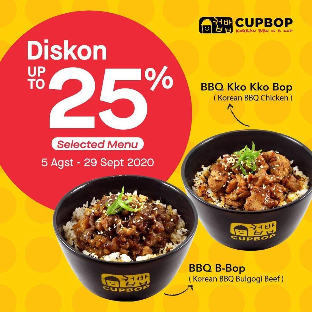 Diskon Cupbob Diskon 25% via GoFood untuk menu pilihan khusus