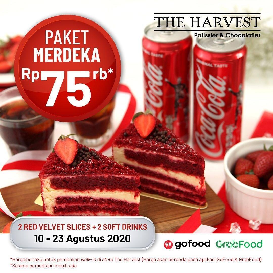 Diskon The Harvest Promo Paket Merdeka - 2 Red Velvet Slices + 2 Soft Drinks Hanya Rp 75.000