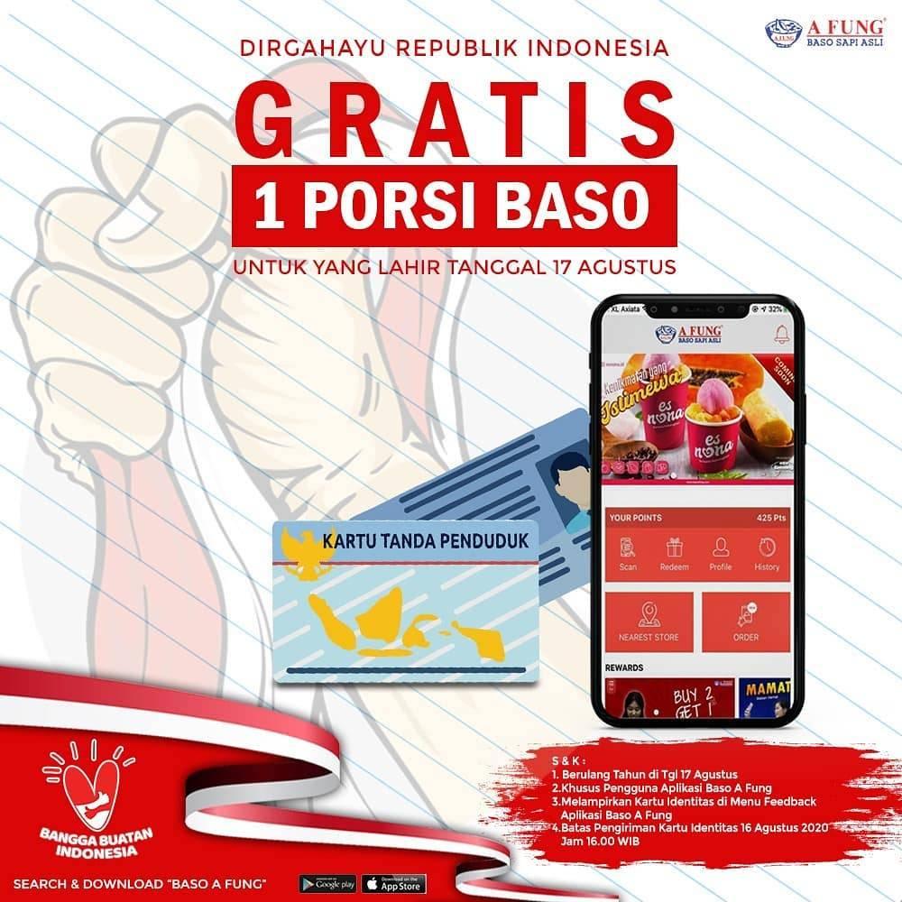 Diskon Baso Afung Promo 17 Agustus Gratis 1 Porsi BASO