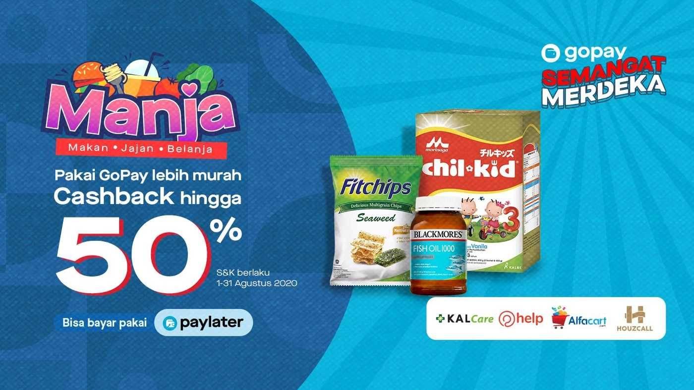 Promo diskon Promo Gopay Manja - Cashback Hingga 50% Untuk Pembelanjaan Di Merchant Pilihan