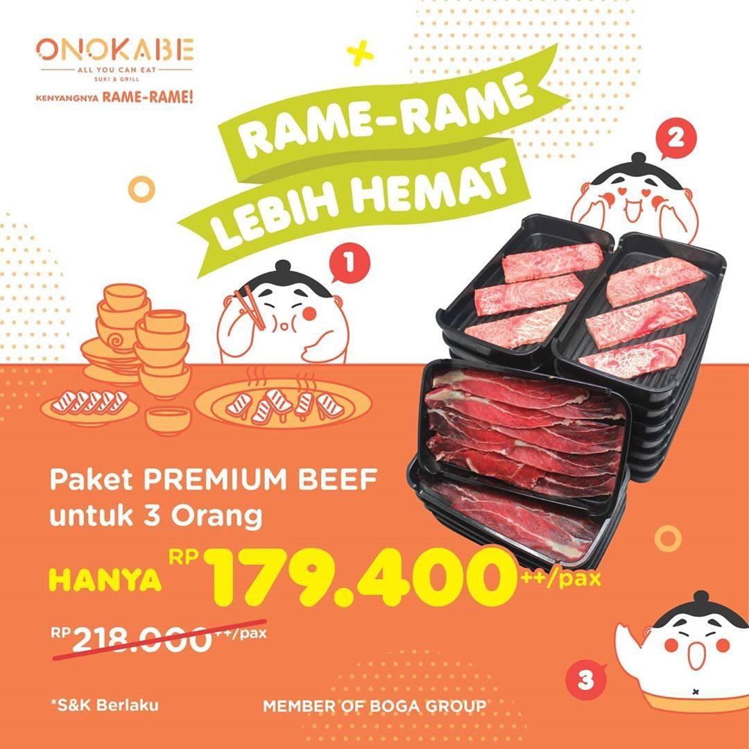 Diskon Onokabe Promo Makan Rame Rame Lebih Hemat Harga mulai Rp. 179.400 ++ per orang