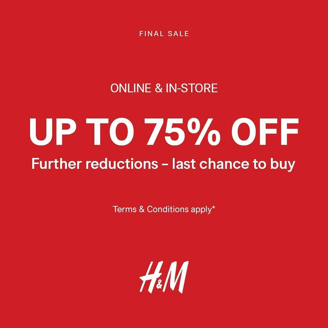 Diskon H&M Promo Further Reduction up to 75% off Online & In-Store