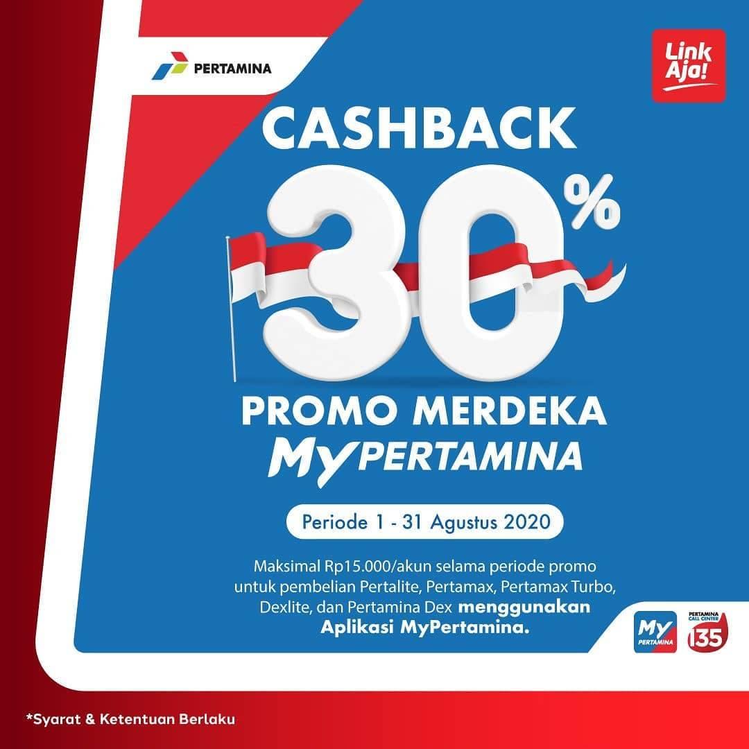 Diskon Promo Merdeka My Pertamina - Cashback 30% Untuk Transaksi Menggunakan LinkAja
