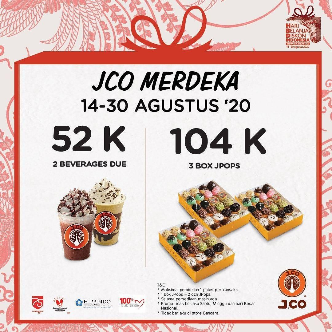 Diskon Promo JCO Merdeka - 3 Box JPops & 2 Minuman Ukuran Due