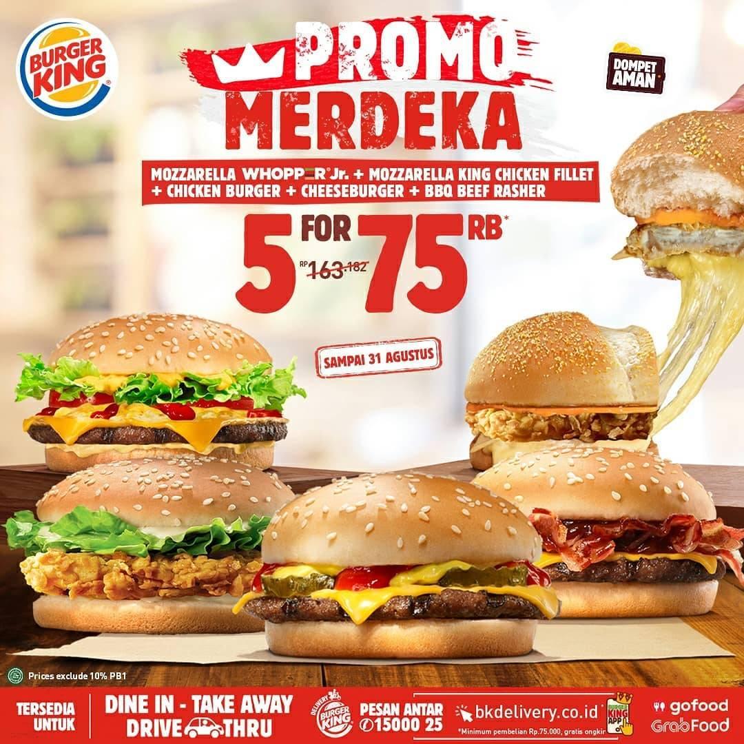Promo Merdeka Burger King Menu Favorit Serba Rp 75ribuan Disqonin