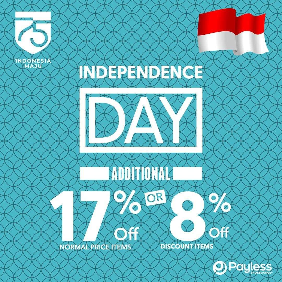 Diskon Promo Payless Independence Day Additional Discount 17% Off / Discount 8% Off