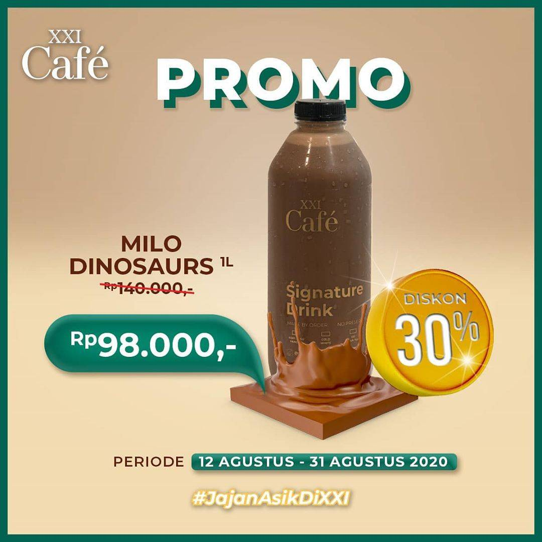 Diskon XXI Cafe Promo Diskon 30% Milo Dinosaurs Botol 1 Liter