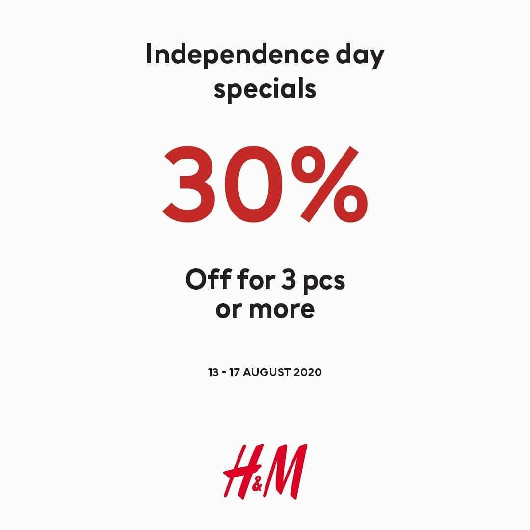 Diskon Promo H&M Independence Day Special - Discount 30% Off For 3 Pcs/More
