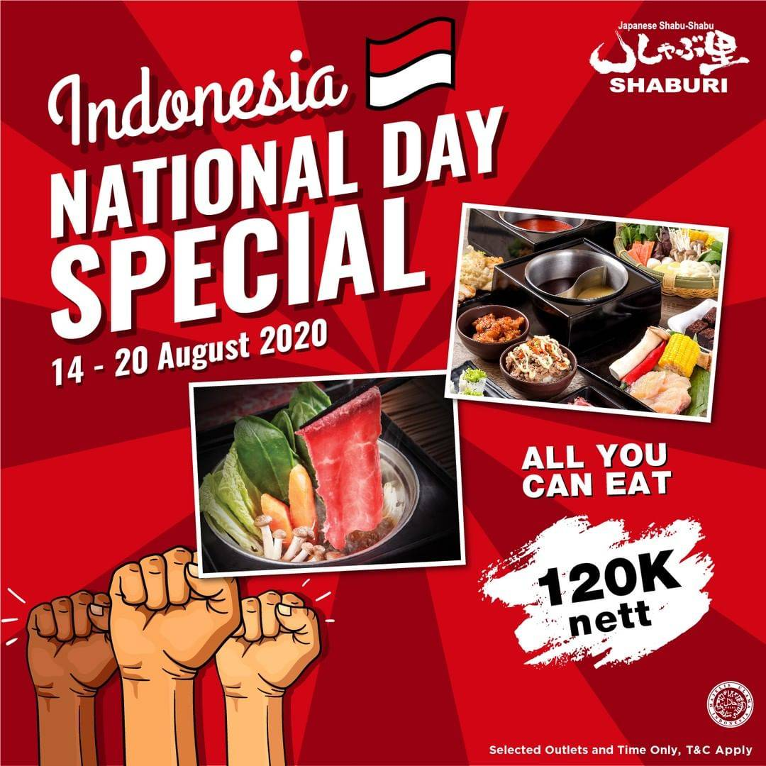 Diskon Promo Shaburi Indonesia National Day Special All You Can Eat Only For Rp. 120.000/nett