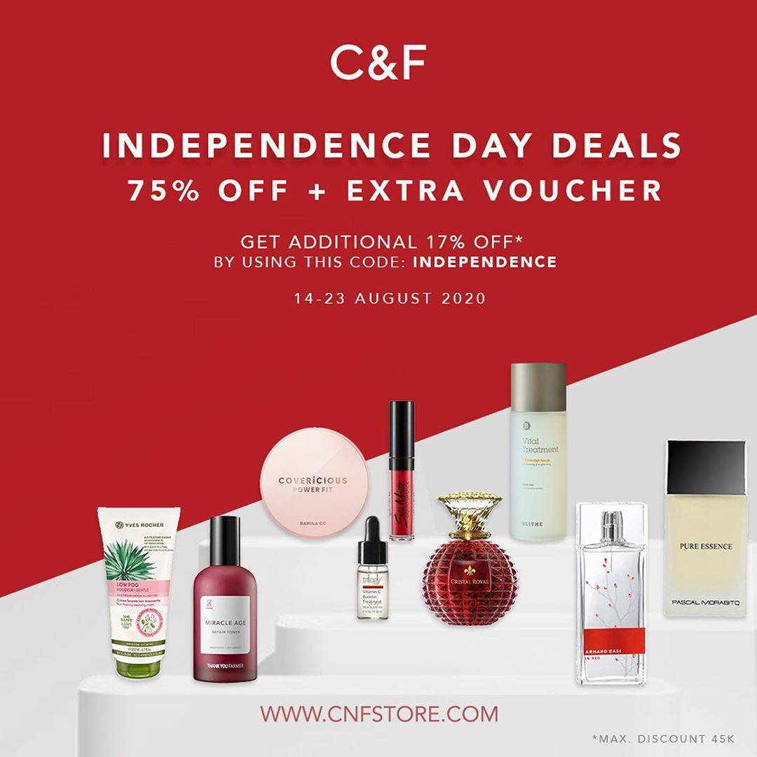 Diskon Promo C&F Independence Day Deals 75% Off + Extra Voucher